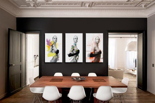 d coration murale avec un tableau triptyque moderne izoa. Black Bedroom Furniture Sets. Home Design Ideas