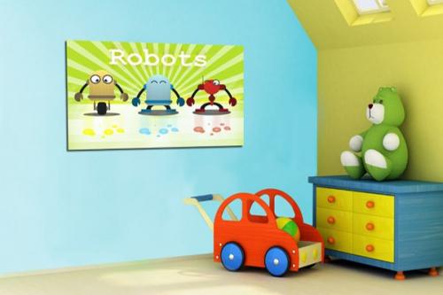 Tableau enfant Robots par Marion Lechat