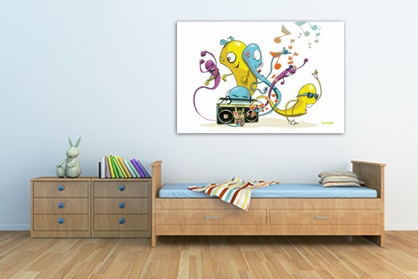 Tableau d co chambre enfant worms par vain izoa for Decoration maison tableau