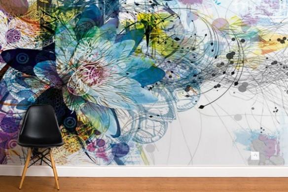 Papier peint déco Fleur Ethnique violet