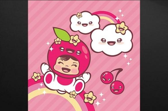 Décoration manga enfant Tableau kawaï Chouquette rose