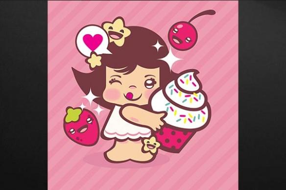 Tableau enfant kawaï Glace à la vanille rose