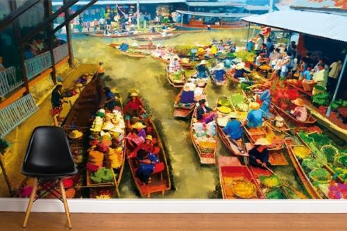 Papier peint déco Marché Asiatique