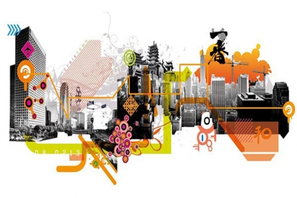 Papier Peint design urbain asie