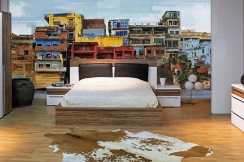 papier peint paysage favelas izoa. Black Bedroom Furniture Sets. Home Design Ideas