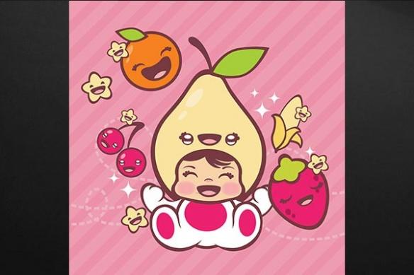 tableau enfant manga Poire orange fraise cerise banane rose