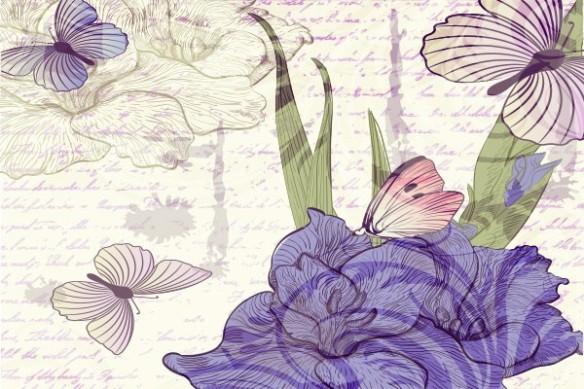 décoration mural fleur violet et papillons Soupir