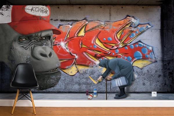 Papier peint original gorille tag izoa - Papier peint original chambre ...