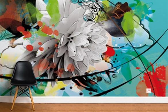 Papier peint Fleur d'été bleu ciel