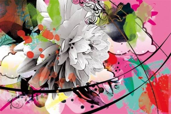 Papier peint design arabesque et Fleur rose