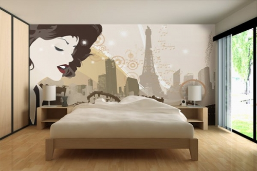 Papier peint deco vue parisenne izoa for Decoration murale 4 murs