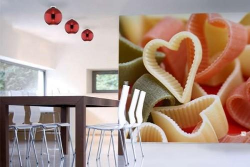 Papier peint Cuisine Pâtes en Coeur