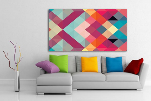 Tableau abstrait vente de tableaux abstraits pop art d coration murale izoa - Tableau design colore ...