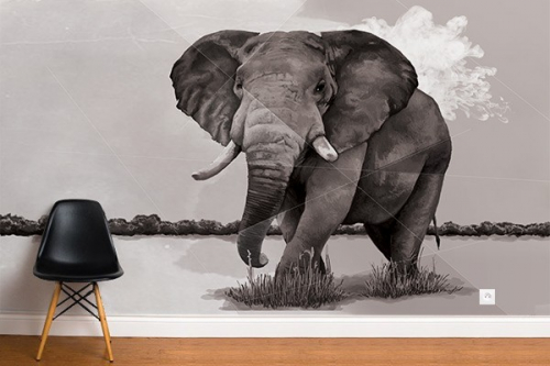 papier peint el phant de la savane izoa. Black Bedroom Furniture Sets. Home Design Ideas