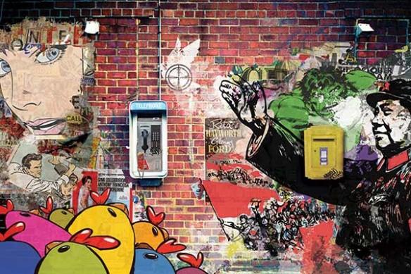 poster mural xxl téléphone publique Call Me mur brique