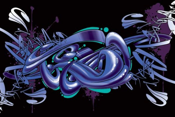 toile deco Graff bleu foncé