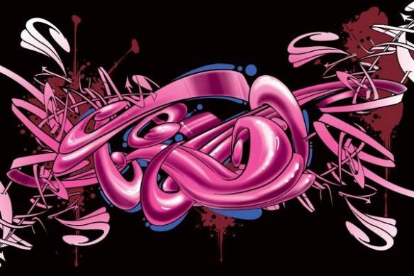 Tableau déco mural Graff rose