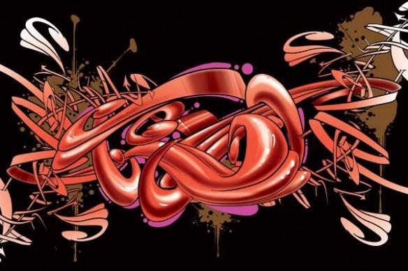 Tableau murale abstrait Graff rouge