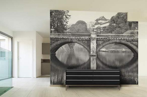 Papier peint noir et blanc Pont Chinois