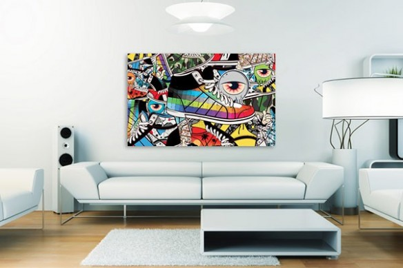 Tableau mural deco sneakers oeil couleur