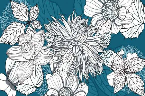 papier deco mural fleur chrysalide bleu