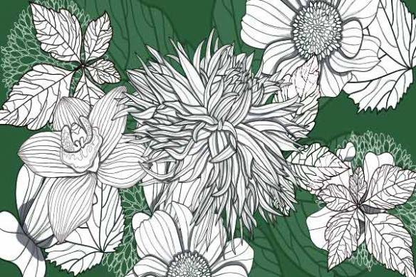 Poster photo mural fleur vert
