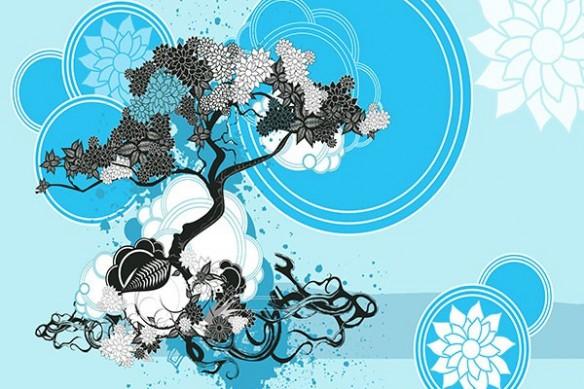 bonsai zen bleu