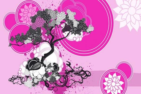Tableau bonsai zen Bankan rose