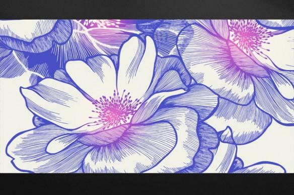 Tableau fleur décoration Ysatis bleu