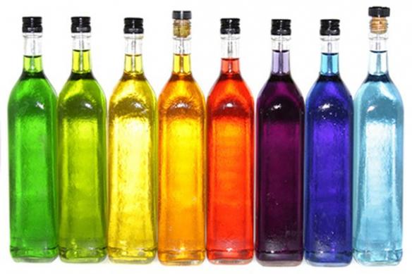 Tableau déco original cuisine bouteilles colorés