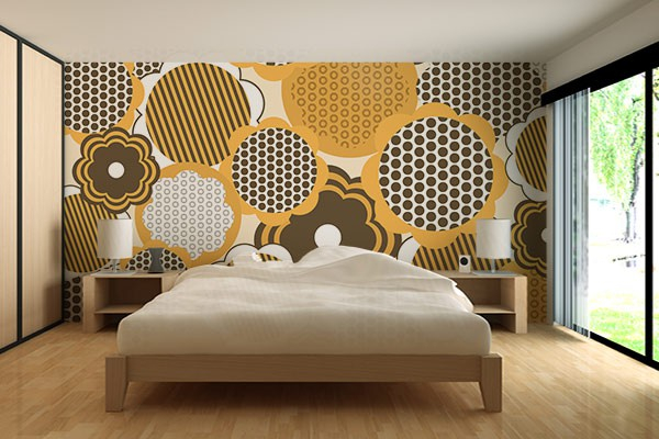 papier peint graphique tournesol izoa. Black Bedroom Furniture Sets. Home Design Ideas