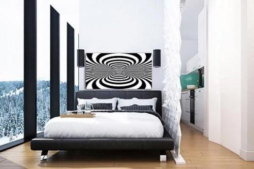 Toile moderne distorsion noir