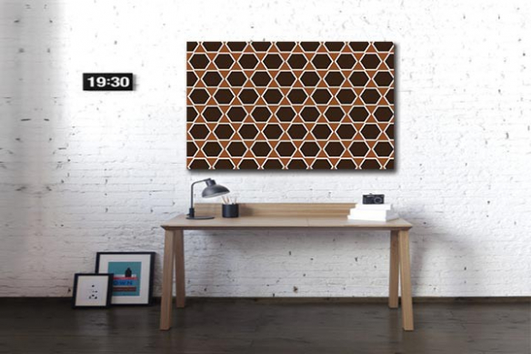 Toile design hexagone marron