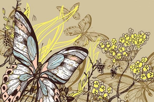 brindille fleurs jaune et papillons