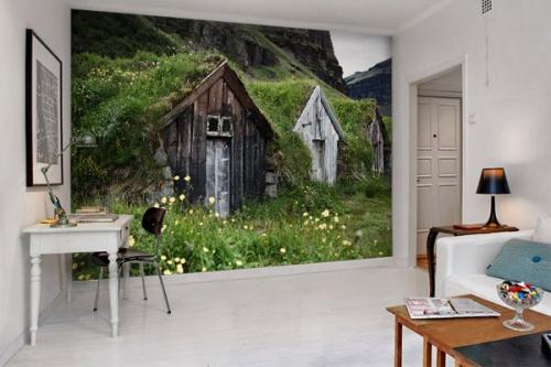 Papier peint photo cabanes souterraines