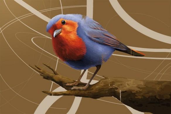 oiseau sur branche design graphique