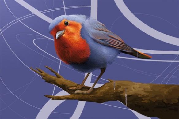 deco mur design moderne Oiseau bleu