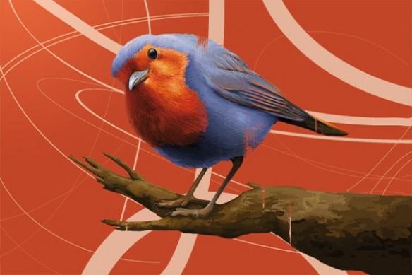 grande toile déco Salomon l'Oiseau orange