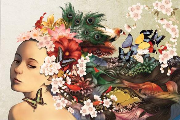 femme cheuveux parure fleurie