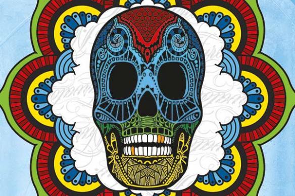 tête mort mexicaine bleu