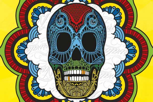 décoration murale tête mort mexicaine jaune