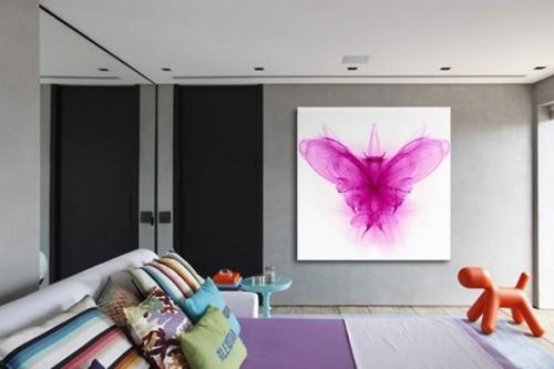 Tableau chambre abstrait papillon féérique