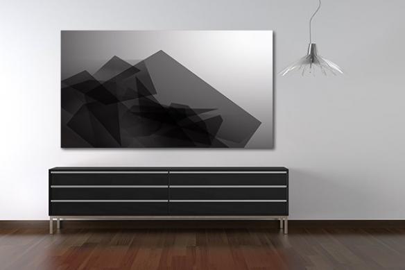 Tableau salon noir blanc translucide