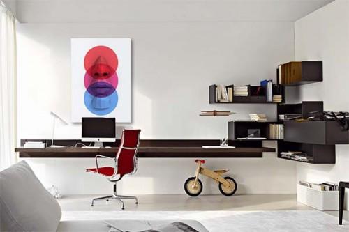 Tableau abstrait visage contemporain