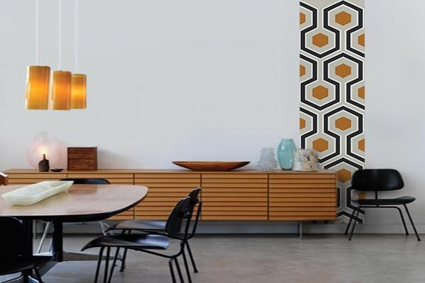 decoration murale seventie avec un papier peint vintage. Black Bedroom Furniture Sets. Home Design Ideas