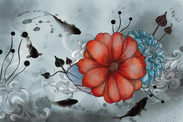 Papier peint déco anemone magique gris