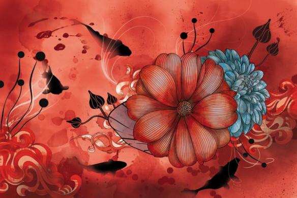Poster mural déco anemone magique rouge
