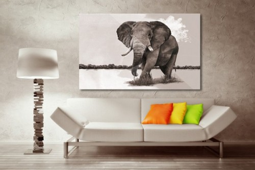 tableau d coration el phant de la savane izoa. Black Bedroom Furniture Sets. Home Design Ideas