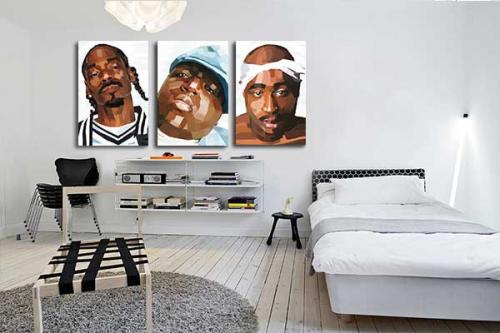 Tableau triptyque rappers
