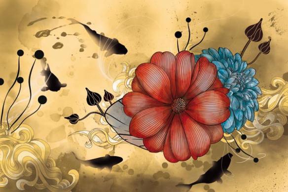 Toile fleur anémone magique jaune